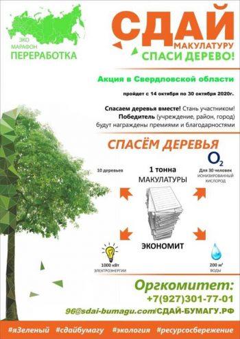 Первоуральцев приглашают присоединиться к эко-марафону ПЕРЕРАБОТКА «Сдай макулатуру – спаси дерево!».